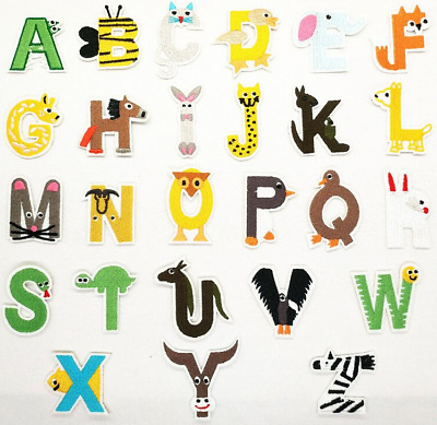 £0.99 • Buy Animal Letter Patch Patches Iron On Sew On Alphabet Embroidered Kids Childrens