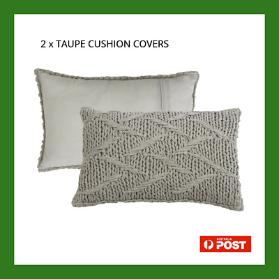 AU36.95 • Buy HABITAT SHORELINE KNIT TAUPE OBLONG 2 X CUSHION COVERS NEW IN PACKAGING