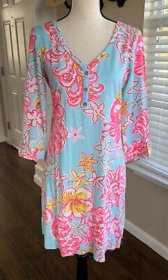 LILLY PULITZER SZ Medium PIMA COTTON PINEAPPLE DRESS 3/4 SLEEVES GOLD BUTTONS • 29.99$