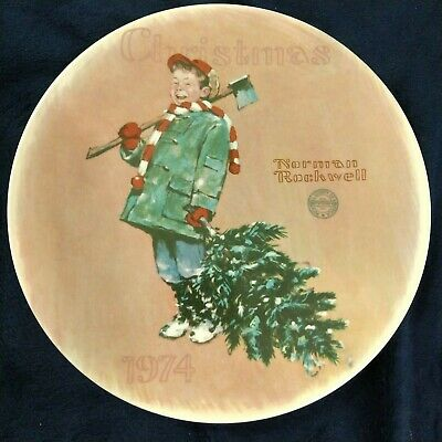 $ CDN37.77 • Buy Collectors Plate Norman Rockwell Christmas 1974 Numbered Scotty Gets His Tree