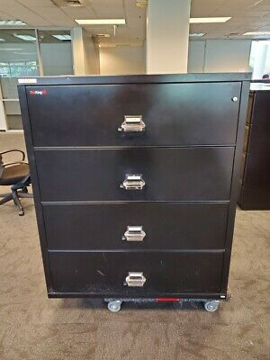 Used Black Fireking Fireproof 4 Drawer Lateral File Cabinet  • 1,495$
