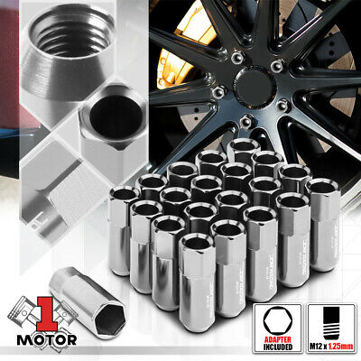 $18.98 • Buy (20) Silver Aluminum M12x1.25 60mm Open End Extended Tuner Wheel Lug Nut+Adapter