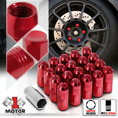 $21.88 • Buy (20) Red M12x1.25 50mm Aluminum Closed End Extended Tuner Wheel Lug Nut+Adapter