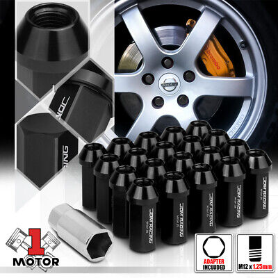 $22.88 • Buy (20) Black M12x1.25 50mm Aluminum Flattop Capped Conical Tuner Lug Nut+Adapter