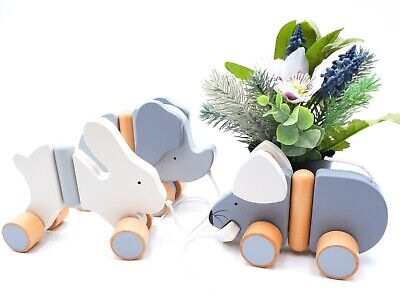 BABY POP PUSH ALONG BUNNY Interactive  Wooden Toys Games For Kids • 6.99£