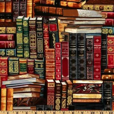 Fat Quarter Library Packed Books Cotton Quilting Sewing Fabric • 5.35£