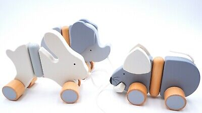 BABY POP PUSH ALONG  Interactive Wooden Toys Games For Kids Bunny Mouse • 7.99£