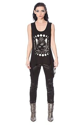 Women's Black Gothic Emo Punk Rockabilly Kitty Moon Cat Vest Top BANNED Apparel • 19.99£