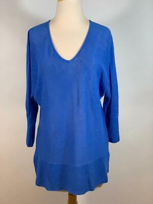 LILLY PULITZER 100% Linen 3Q Sleeve Blue Tunic Top Size Small • 19.99$