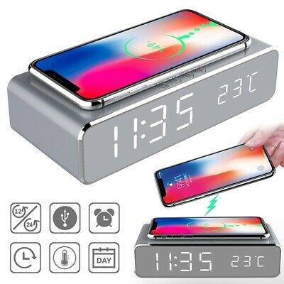 AU24.31 • Buy Electric Led Alarm Clock With Phone Wireless Charger Thermo Desktop Digital AU`