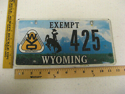 Wyoming Wy Exempt Department Of Transportation Bucking Bronco License Plate #425 • 39$