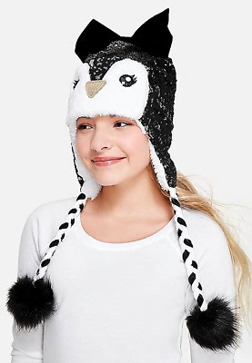£8.30 • Buy Justice For Girls Sequin Sparkle Penguin Trapper Hat  NWT