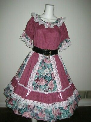2 Pc Square Dance Dress, Pink/Teal Malco Modes # 1401, L • 35$