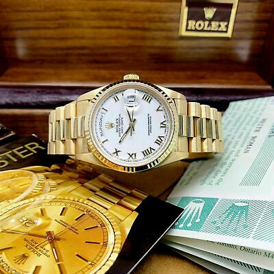 $ CDN19407.22 • Buy Rolex Day Date President 36mm Watch 18238 Box And Papers Double Quick Set