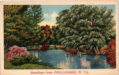 $ CDN8.62 • Buy 1930s Linen WV Postcard Greetings From Follansbee West Virginia Posted