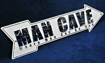 MAN CAVE Arrow - *US MADE* Embossed Metal Sign - Man Cave Garage Bar Wall Decor • 14.75$