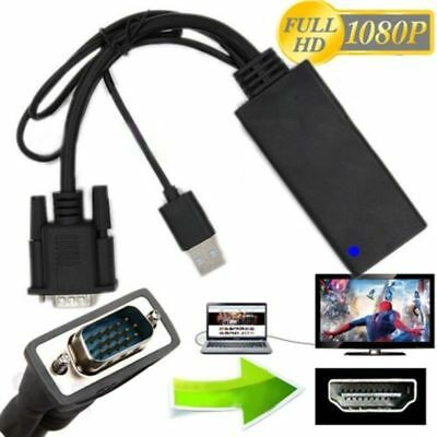 1080P VGA To HDMI Converter + USB Audio Video Cable Adapter Laptop PC DVD HD TV • 6.99£