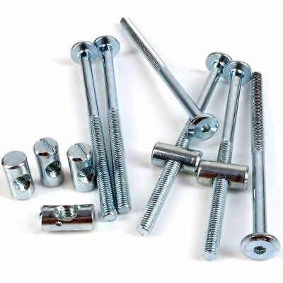 WITH ZINC BARREL NUTS AND FREE ALLEN KEY 115mm LONG FURNITURE COT /& BED BOLTS