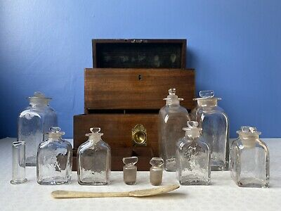 £479 • Buy Early Victorian Mahogany Apothecary Box With Assortment Of Glass Bottles
