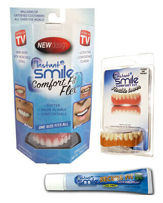 $29.95 • Buy Instant Smile Comfort Fit Flex Teeth Uppers And Lowers W/ Denture Cream