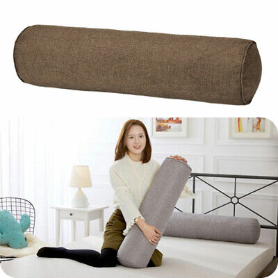 Round Orthopaedic Bolster Pillow Cotton Linen Travel Roll Neck Cushion Headrest • 10.16£