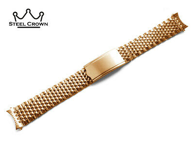 BEAD OF RICE Stainless STEEL For OMEGA WATCH STRAP Band Bracelet Yellow Gold NEW • 29£