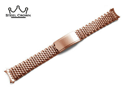 BEAD OF RICE Stainless STEEL For OMEGA WATCH STRAP Band Bracelet Rose Gold • 29£