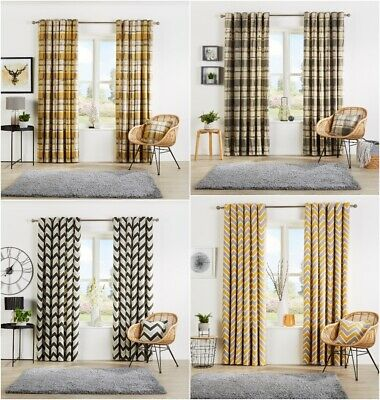 Check & Chevron Pattern Curtain Pairs Ready Made Eyelet Top Fully Lined Curtains • 26.99£