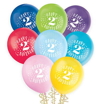 AU3.99 • Buy Happy 2nd Birthday Coloured Round Balloons 8 Latex Party Helium Quality