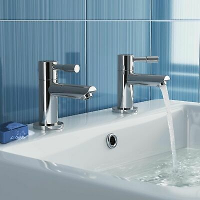 £19.50 • Buy Modern Bathroom Basin Taps Hot & Cold Pair Twin Chrome Lever Handle Solid Brass