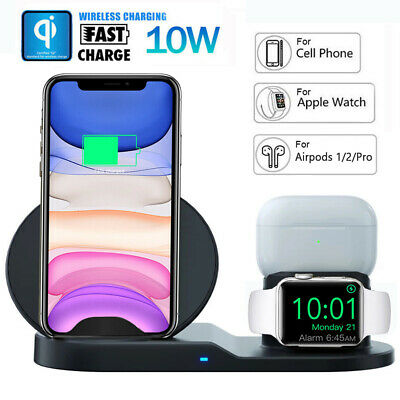 $ CDN19.58 • Buy For IPhone 11 Apple Watch Airpods Pro 3in1 Wireless Qi Fast Charger  Dock Stand