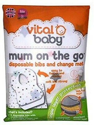 £2.99 • Buy Vital Baby Mum On The Go Disposable Bibs (x3) & Change Mat In Pocket Size Wallet