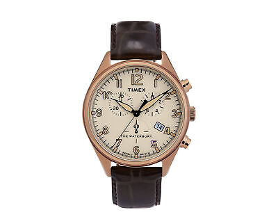$158.95 • Buy Timex Waterbury Traditional Chrono 42mm Leather Strap Gold Watch TW2R88300VQ