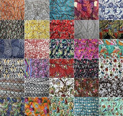 Cotton Hand Printed 2.5 Meter Sewing Fabric Indian Home Furnishing Boho Fabric   • 13.99£