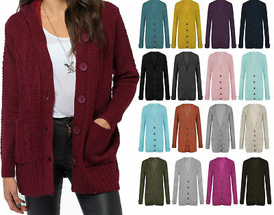 £10.43 • Buy Womens Ladies Chunky Cable Knit Button Cardigan Long Sleeves Grandad Plus Sizes