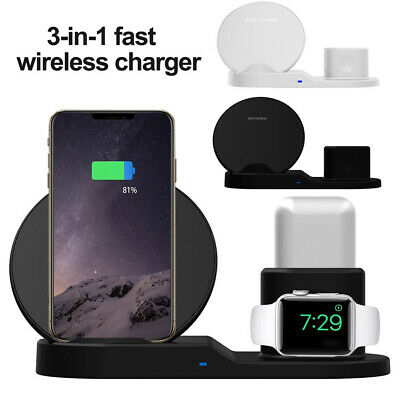 $ CDN21.99 • Buy 3in1 Qi Wireless Fast Charger Dock Stand For Apple Watch Airpods IPhone X Xs