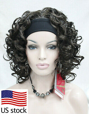 $20.77 • Buy New Dark Brown Short Spiral Curly Women 3/4 Half Wig Daily Headband (US Stock)
