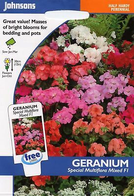 Johnsons Pictorial Pack Flower - Geranium Special Multiflora Mixed F1 - 10 Seeds • 3.65£
