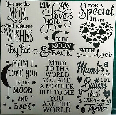 Wine Bottle Mum Mothers Day Stickers Decal Vinyl Silhouette Glass Art Crafts ETC • 2.35£