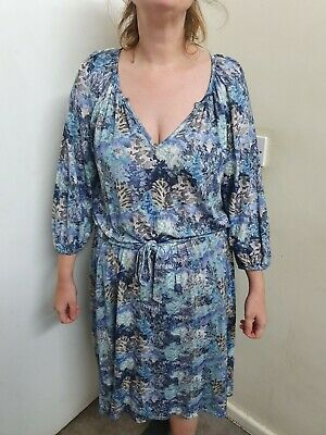 Brora Floral Print Dress With Elastic Waist And Cuffs With Belt Size 16 • 34.99£