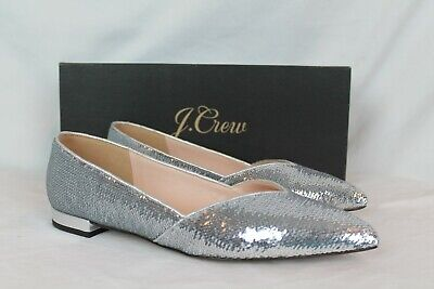 $60 • Buy J.Crew Women's Gwen Flats With Glittery Sequins Silver NIB Size 7