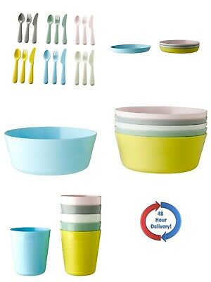 Kalas Children Kids Plastic Pastel Plate Mug Cups Bowls And Cutlery Set By IKEA  • 6.49£