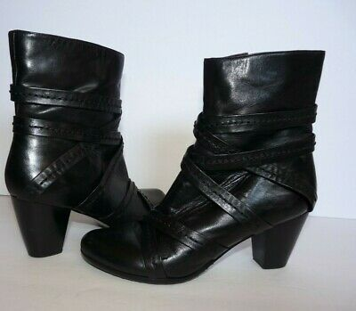 $39 • Buy Everybody By BZ Moda Strappy 38.5 /9  Black Leather Heels Ankle Boots