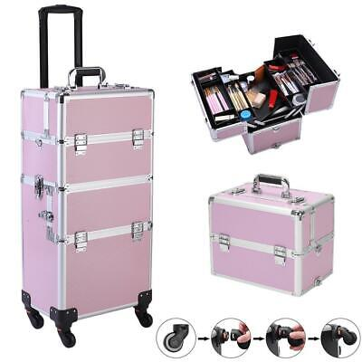 $70.99 • Buy Professional Salon Rolling Makeup Cases Travel Makeup Bag Organizer 3In1 Pink