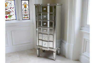 6 Drawer Venetian Glass Mirrored Chest Of Drawers Mirrored Silver Tallboy 3693 • 239.99£