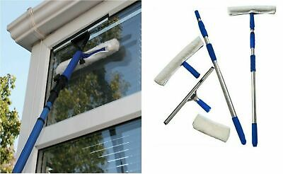 3.5m Telescopic Extendable Window Cleaning Kit Glass Cleaner Wash Rubber Brush • 19.99£