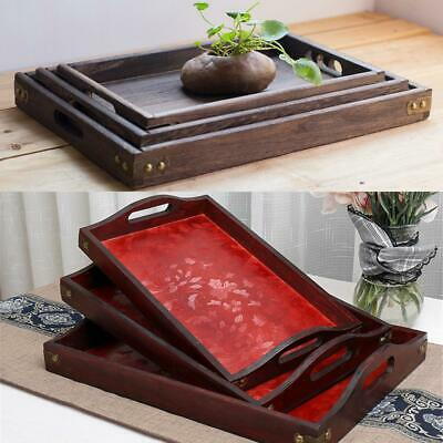$11.43 • Buy Tray Coffee Tray Wood Food Breakfast Serving Table  Square Retro Tea Plate Snack