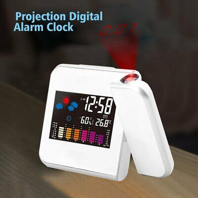 AU16.95 • Buy Digital LCD LED Time Projector Temperature Humidity Weather Colorful Alarm Clock