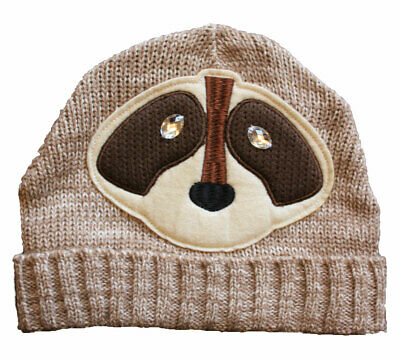 Ladies Knitted Novelty Animal Face Fashion Beanie Ski Warm Winter Hat. Racoon • 6.33£