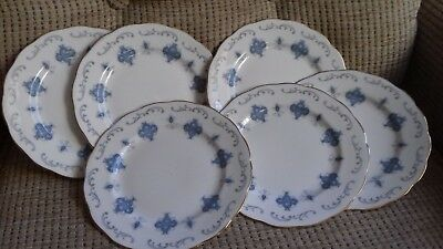 6 Royal Osborne Bone China Tea/side Plates - Blue & Grey Pattern 8324 • 9£
